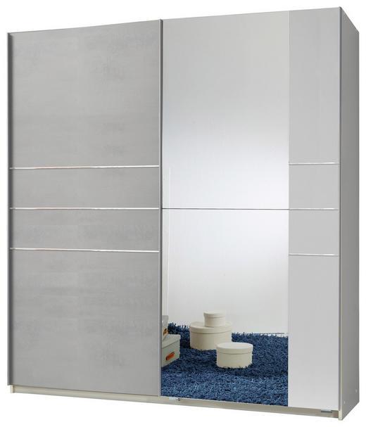 SCHWEBETÜRENSCHRANK 2-türig Hellgrau, Weiß - Hellgrau/Alufarben, MODERN, Holzwerkstoff/Metall (180/198/64cm) - Carryhome