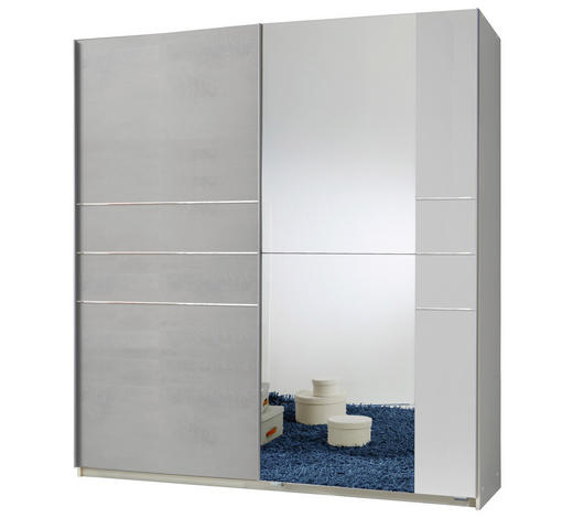 SCHWEBETÜRENSCHRANK in Weiß, Hellgrau - Hellgrau/Alufarben, MODERN, Holzwerkstoff/Metall (180/198/64cm) - Carryhome