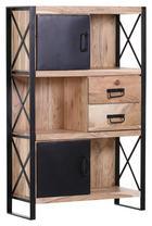 REGAL Akazie massiv Naturfarben - Schwarz/Naturfarben, Design, Holz/Metall (90/140/40cm)