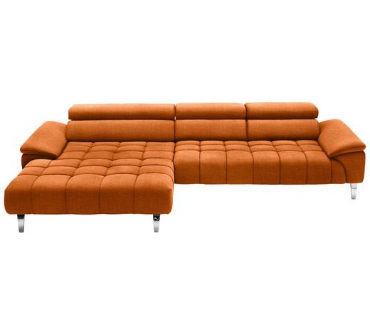 WOHNLANDSCHAFT in Textil Orange  - Chromfarben/Orange, Design, Textil/Metall (190/329cm) - Beldomo Style