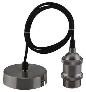 LAMPUPPHÄNG - svart, Basics, metall/textil (120cm)
