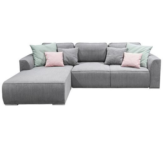 WOHNLANDSCHAFT in Textil, Holzwerkstoff Grau - Pink/Silberfarben, Design, Holzwerkstoff/Kunststoff (206/294cm) - Carryhome