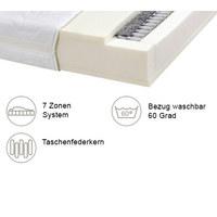 TASCHENFEDERKERNMATRATZE 90/200 cm 25 cm - Weiß, Basics, Textil (90/200cm) - Carryhome