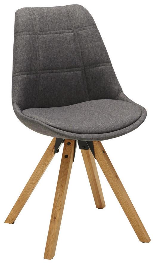 STUHL Webstoff Dunkelgrau, Eichefarben - Dunkelgrau/Eichefarben, Design, Holz/Textil (49/87,5/56cm) - Carryhome