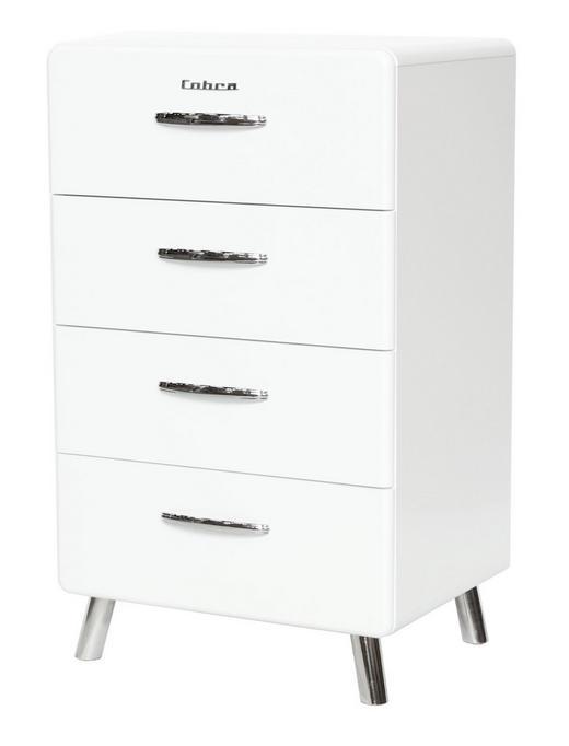 KOMMODE Weiß - Chromfarben/Weiß, Design, Metall (56/92/43cm) - Carryhome