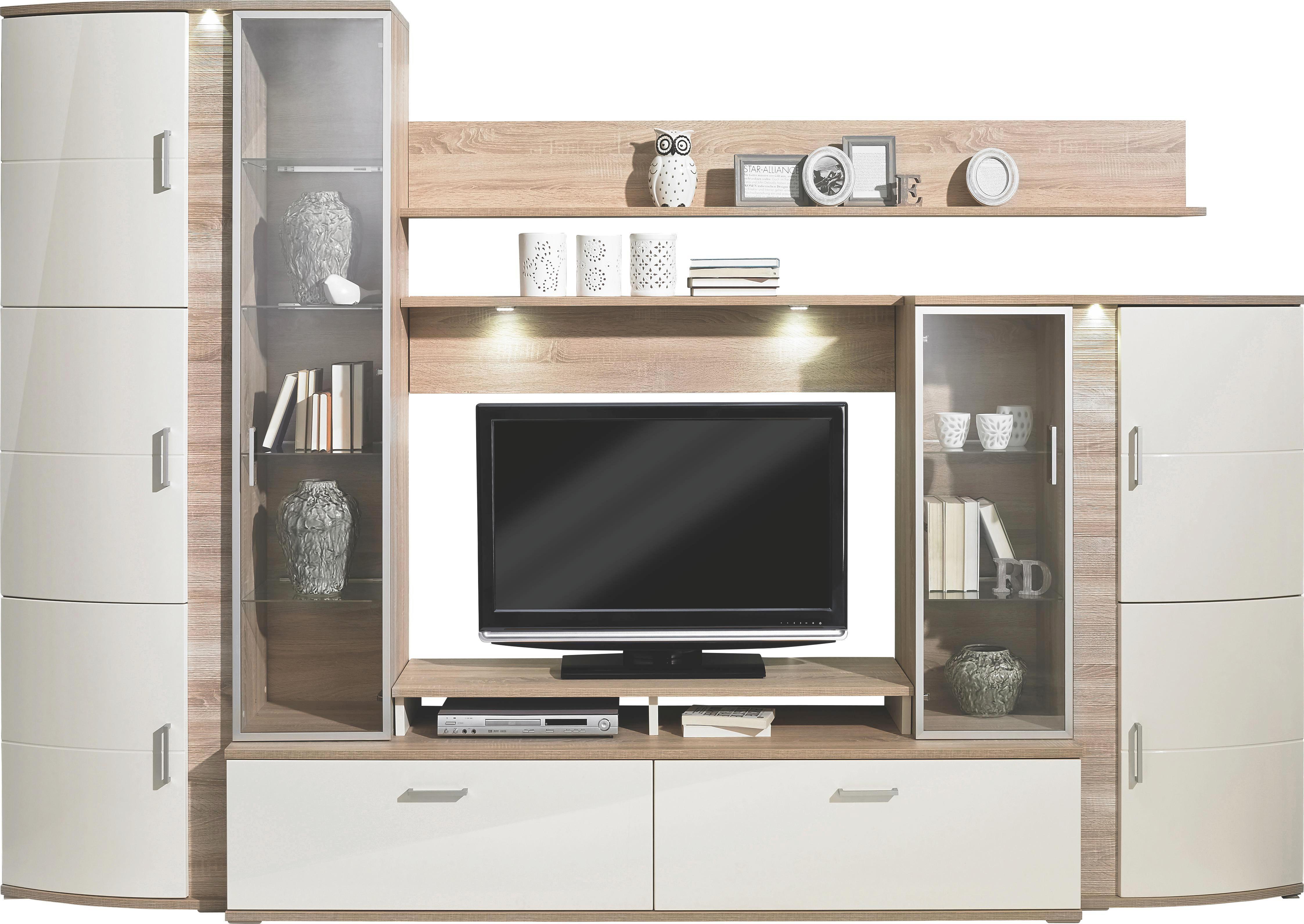 Lieblich WOHNWAND Creme, Eichefarben   Eichefarben/Silberfarben, Design,  Glas/Holzwerkstoff (327