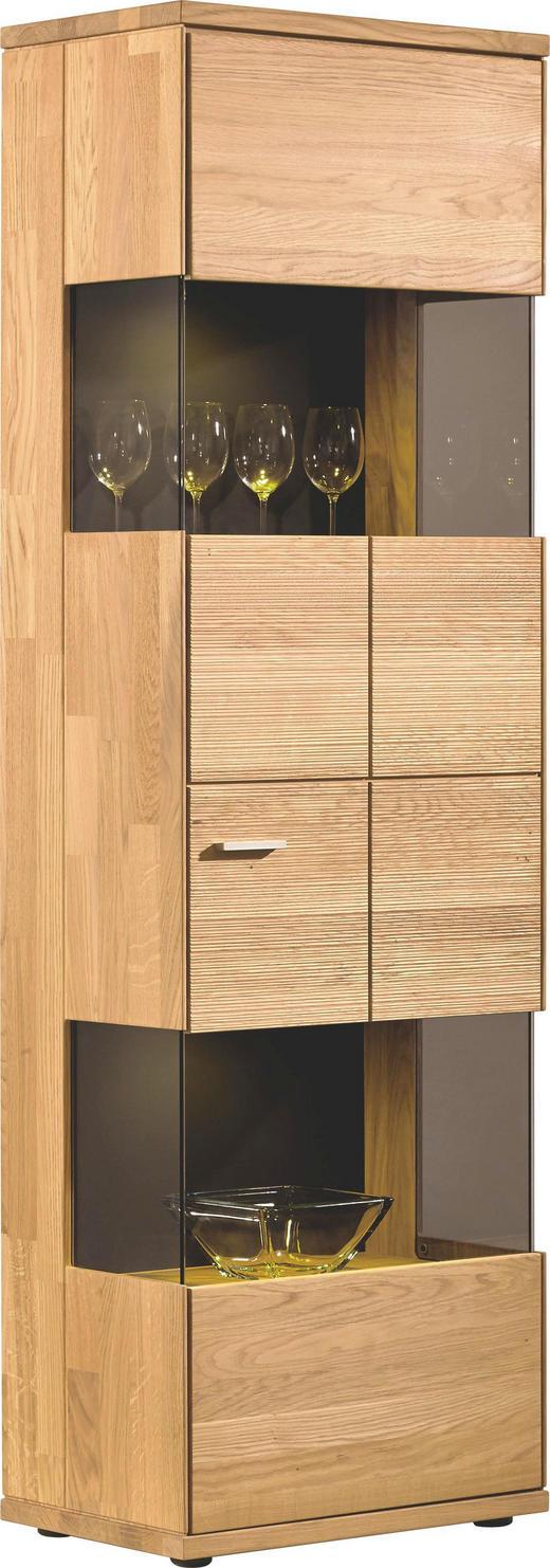 VITRINE Eiche massiv - Silberfarben/Schwarz, Design, Glas/Holz (63/200/40cm) - Musterring