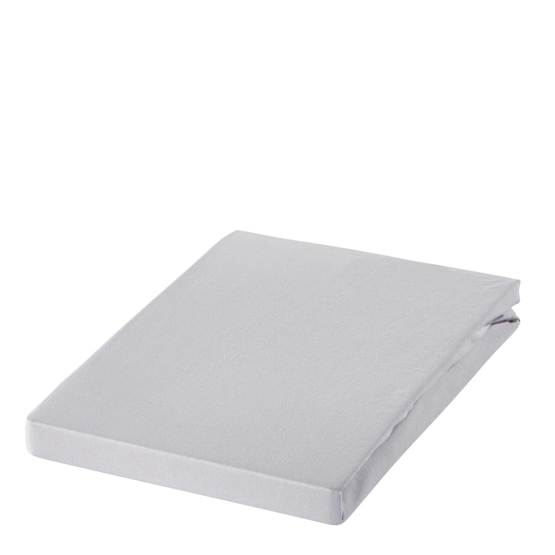 SPANNBETTTUCH Zwirn-Jersey Silberfarben bügelfrei, für Wasserbetten geeignet - Silberfarben, Basics, Textil (100/200cm) - ESTELLA
