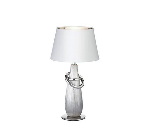 TISCHLEUCHTE - Silberfarben/Goldfarben, KONVENTIONELL, Keramik/Textil (24/35cm) - Boxxx