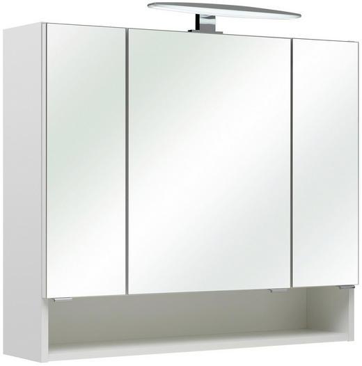 SPIEGELSCHRANK Weiß - Chromfarben/Weiß, KONVENTIONELL, Glas/Holzwerkstoff (80/70/18cm) - Xora