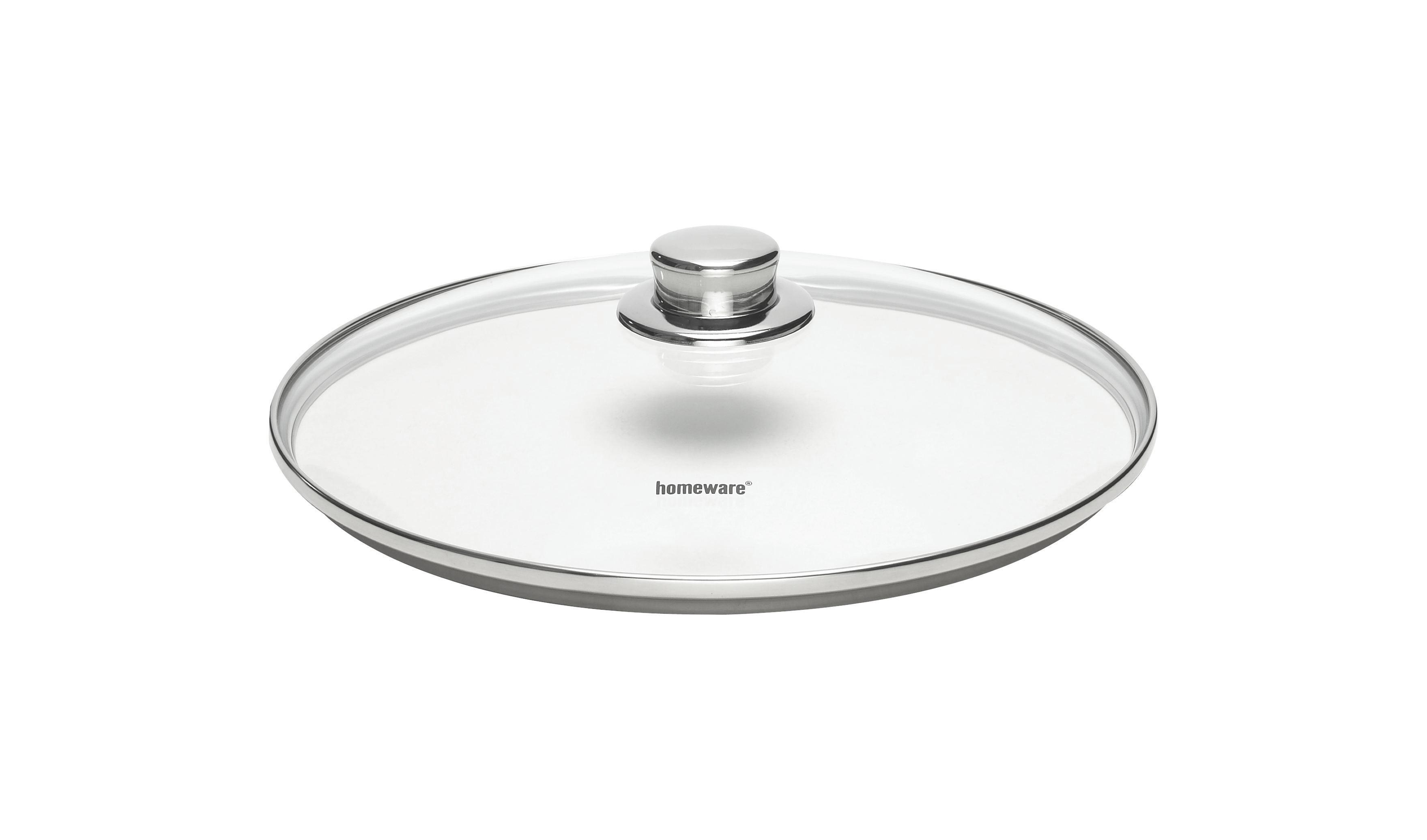 POKLOPAC - boje oplemenjenog čelika/prozirno, Konvencionalno, staklo/metal (28cm) - HOMEWARE