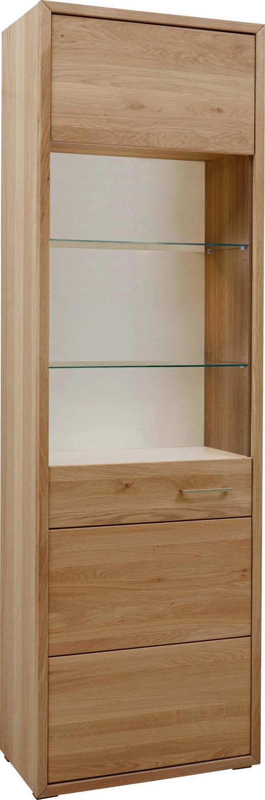 VITRINE Eiche furniert, massiv Eichefarben - Eichefarben/Nickelfarben, KONVENTIONELL, Glas/Holz (65,6/209,5/38cm) - Voleo
