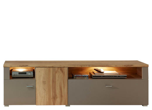 LOWBOARD foliert Grau, Eichefarben - Chromfarben/Eichefarben, Design, Metall (180/56/47cm) - Xora