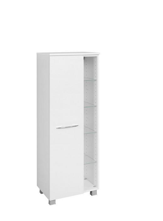 MIDISCHRANK Weiß - Chromfarben/Silberfarben, Design, Glas/Holzwerkstoff (45/122/35cm) - Carryhome