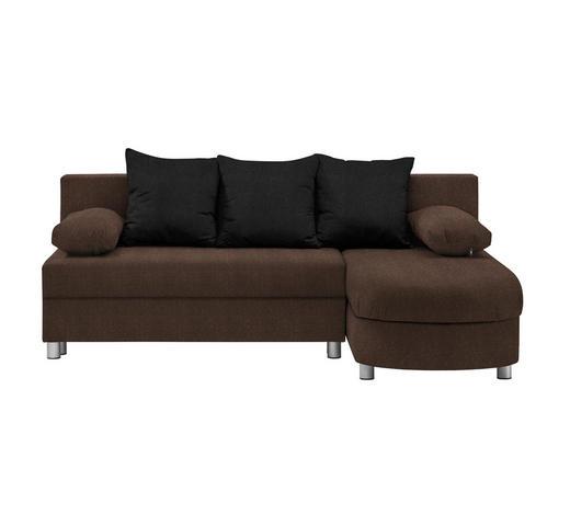WOHNLANDSCHAFT in Textil Braun, Schwarz  - Alufarben/Schwarz, KONVENTIONELL, Kunststoff/Textil (195/153cm) - Carryhome