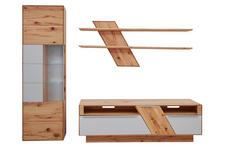 WOHNWAND Buche massiv Buchefarben, Weiß - Edelstahlfarben/Buchefarben, Design, Glas/Holz (274/206/54cm) - VALNATURA