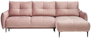 WOHNLANDSCHAFT in Textil Altrosa  - Schwarz/Altrosa, Design, Textil/Metall (278/180cm) - Hom`in