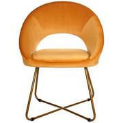 STUHL in Metall, Textil, Holzwerkstoff Orange, Goldfarben  - Goldfarben/Orange, LIFESTYLE, Holzwerkstoff/Textil (63cm) - Ambia Home