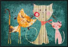 FUßMATTE 50/75 cm Katze Multicolor, Türkis  - Türkis/Multicolor, Basics, Kunststoff/Textil (50/75cm) - Esposa