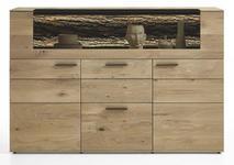 HIGHBOARD Kerneiche vollmassiv gebürstet, gewachst, lackiert, matt Eichefarben - Eichefarben/Anthrazit, Design, Glas/Holz (173/116/44cm) - VALNATURA