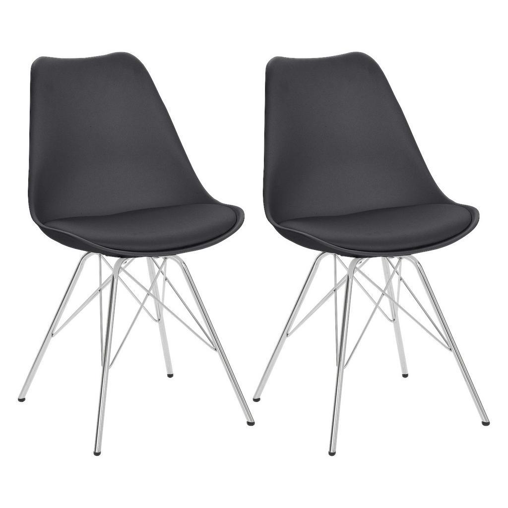 Livetastic Stuhl set schwarz , Ursel , Metall, Kunststoff , 48x86x56 cm , verchromt , abwischbar , 000440005104