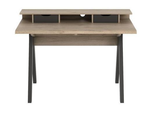 SCHREIBTISCH Eichefarben, Hellgrau - Eichefarben/Hellgrau, Design, Holzwerkstoff/Kunststoff (120/85,5/62cm) - Xora