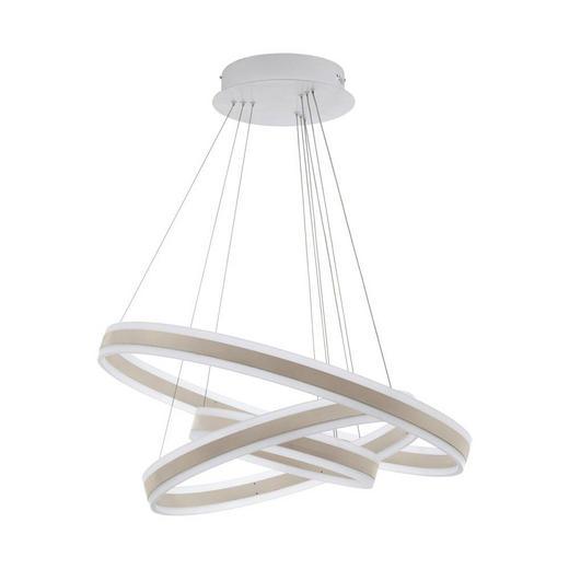LED-HÄNGELEUCHTE - Champagner/Weiß, Design, Kunststoff/Metall (80/150cm)