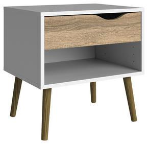 SÄNGBORD - vit/ekfärgad, Design, trä/träbaserade material (50,2/49,7/39,1cm) - Hom`in