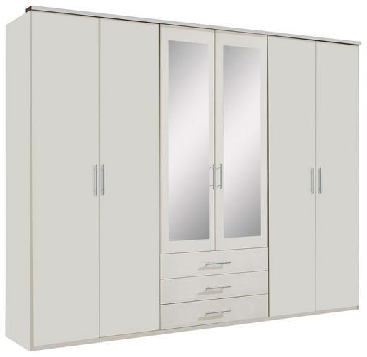 KLEIDERSCHRANK 6-türig Weiß - Alufarben/Weiß, KONVENTIONELL, Glas/Holzwerkstoff (270/210/58cm) - Carryhome