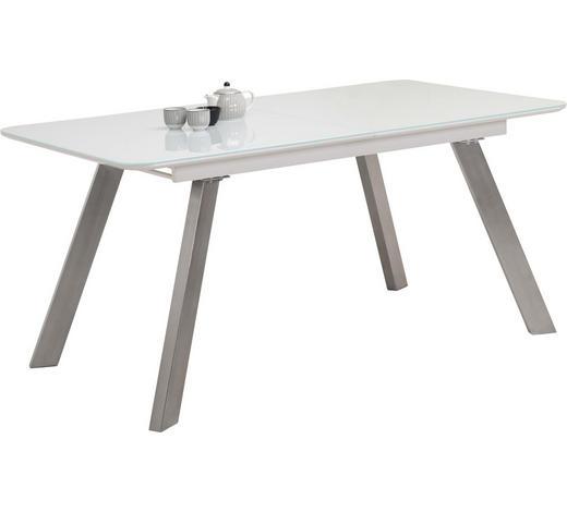 ESSTISCH in Metall, Glas, Holzwerkstoff 160(200)/90/76 cm - Edelstahlfarben/Weiß, Design, Glas/Holzwerkstoff (160(200)/90/76cm) - Carryhome