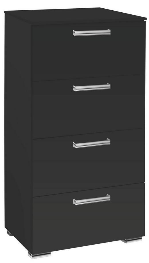 KOMMODE Schwarz - Chromfarben/Schwarz, Design, Kunststoff/Metall (55/105/42cm) - Carryhome
