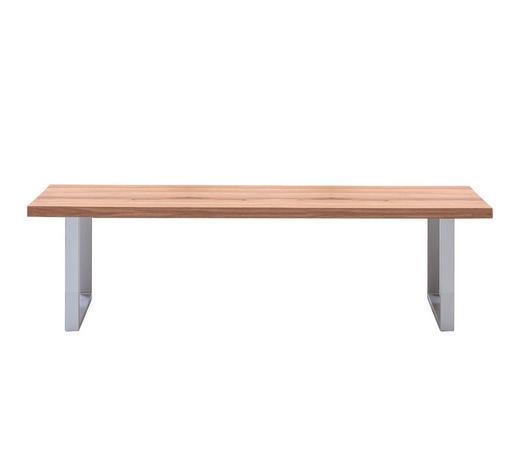 SITZBANK Wildeiche massiv Eichefarben - Edelstahlfarben/Eichefarben, Design, Holz/Metall (180/45/40cm) - Carryhome