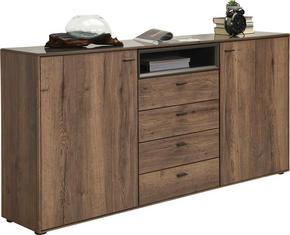 SIDEBOARD - grå/svart, Design, glas/träbaserade material (180/92,5/39,5cm) - Hom`in