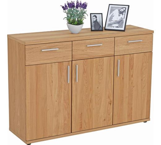 KOMMODE 125/87/39 cm - Chromfarben/Eichefarben, Design, Holz/Kunststoff (125/87/39cm)