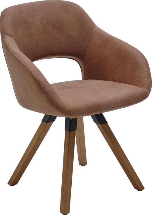 STUHL in Holz, Textil Schlammfarben, Eichefarben - Schlammfarben/Eichefarben, Design, Holz/Textil (63/83/58cm) - Valnatura