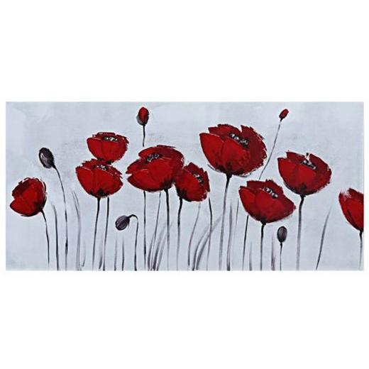 Blumen ÖLGEMÄLDE - Rot/Weiß, LIFESTYLE, Holz/Textil (120/55cm) - Monee
