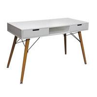 PISALNA MIZA les, kovina, leseni material naravna, bela  - naravna/bela, Moderno, kovina/leseni material (120/74/55cm) - Xora