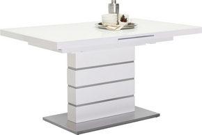 MATBORD - vit/rostfritt stål-färgad, Design, metall/glas (140(175)/85/76cm) - Novel