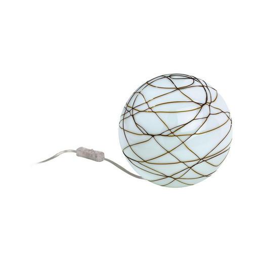 TISCHLEUCHTE - Opal/Braun, Design, Glas/Metall (15cm)