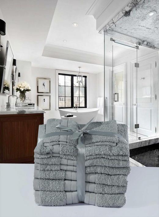FROTTIERSET 8-teilig - Grau, Textil