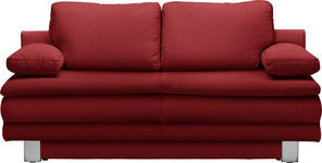 SCHLAFSOFA in Textil Rot - Chromfarben/Rot, Design, Textil/Metall (194/96/86cm) - Novel
