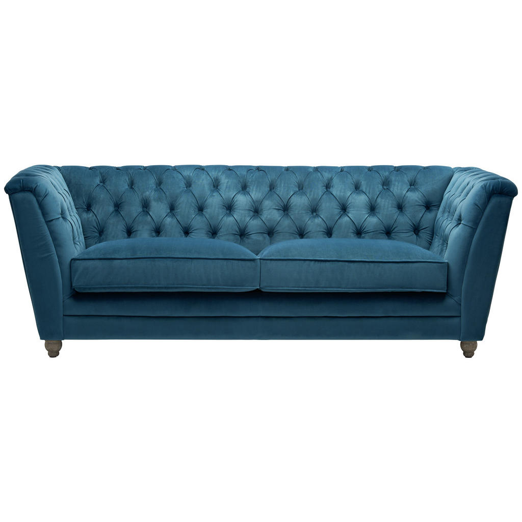 Image of Ambia Home Chesterfield-sofa in textil türkis, eichefarben , Scarlett -Top- , massiv , 220x78x90 cm , lackiert,Samt,Echtholz , 000319002401