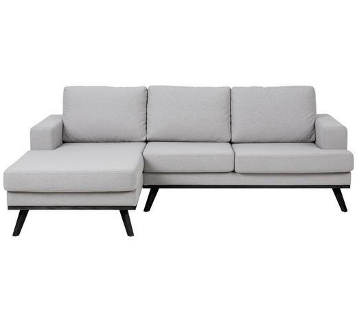 WOHNLANDSCHAFT in Textil Hellgrau - Hellgrau/Schwarz, Design, Holz/Textil (148/233cm) - Carryhome