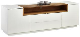 LOWBOARD Eiche furniert geölt, Mattlack Weiß, Eichefarben  - Eichefarben/Weiß, Design, Holz/Holzwerkstoff (180/59/45cm) - Xora