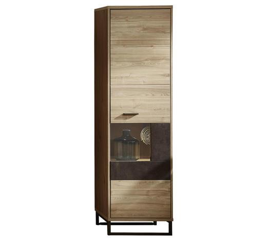 VITRINE Eichefarben, Wengefarben  - Wengefarben/Eichefarben, Design, Holzwerkstoff/Metall (49/174/38cm) - Stylife