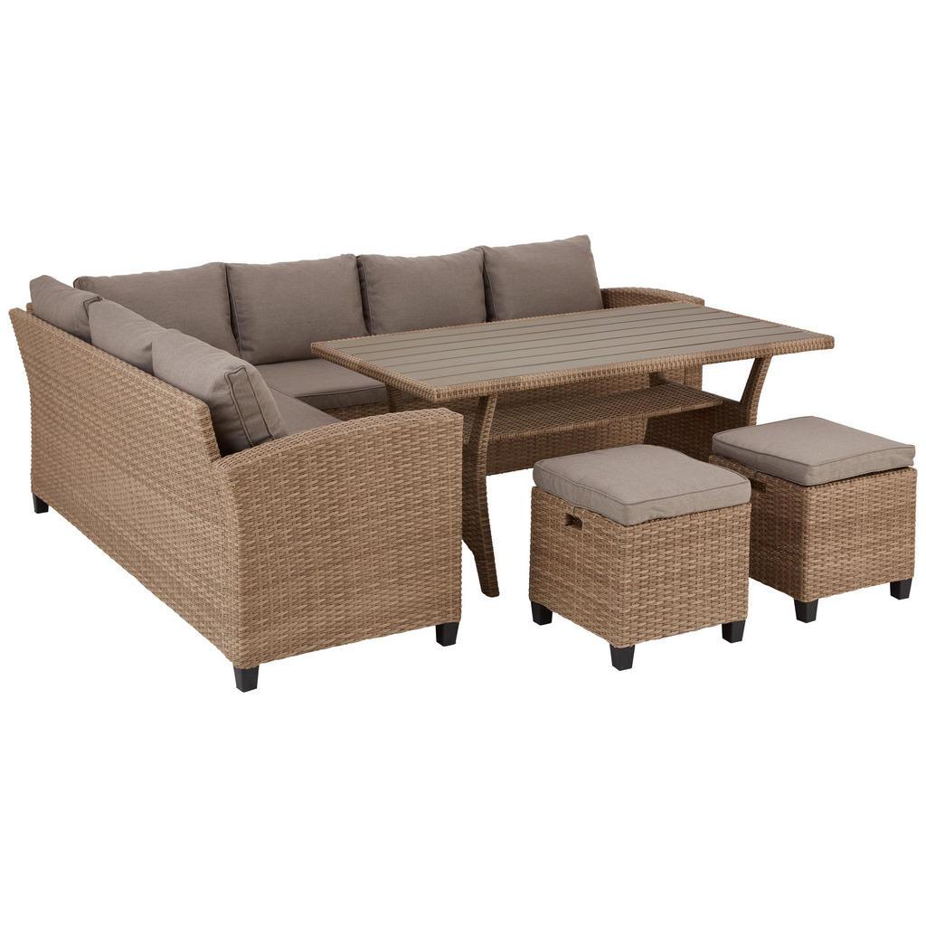 Image of Ambia Garden Dining-loungeset 15-teilig , Lionel -Top- , Hellbraun , Kunststoff, Textil , matt , 001694002709