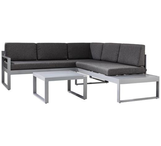 LOUNGEGARNITUR Grau, Silberfarben Aluminium  - Silberfarben/Grau, Design, Textil/Metall (192/219cm) - Ambia Garden