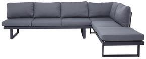 LOUNGEGRUPP - mörkgrå/teakfärg, Modern, metall/textil (285/210cm) - Amatio