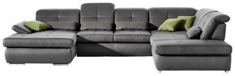WOHNLANDSCHAFT in Textil Grau - Chromfarben/Grau, Design, Textil (195/371/260cm) - Beldomo Style