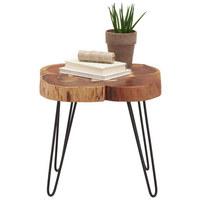 ODKLÁDACÍ STOLEK - černá/barvy akácie, Trend, kov/dřevo (51/51/48cm) - Ambia Home
